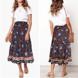 Boho Festival Gypsy Floral Ruffle Maxi Skirt Large